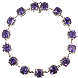13ctw Amethyst and Sterling Silver Bracelet