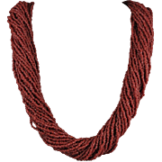 30 Strand Red Coral Color Glass Bead Torsade Necklace 33""