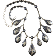 "Siam Silver Goddess Pendant Bib Style Necklace 19"""