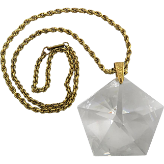 """Miriam Haskell Iconic Crystal Pendant Necklace and Chain Signed 24"""""""