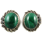 Malachite and Sterling Silver Clip Back Earrings