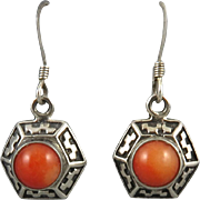 Salmon Coral and Sterling Silver Dangle Earrings