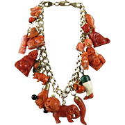 14K Carved Red and Salmon Coral Loaded Charm Bracelet