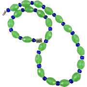 "Art Deco Green and Cobalt Blue Glass Necklace 22"" Sterling Clasp"