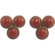 Chinese Export Natural Red Coral Vermeil Earrings