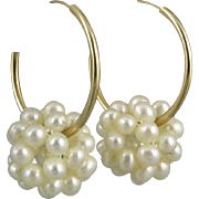 14K Cultured Pearl Cluster Gold Hoops