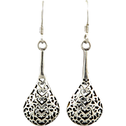 Filigree Teardrop Sterling Dangle Earrings