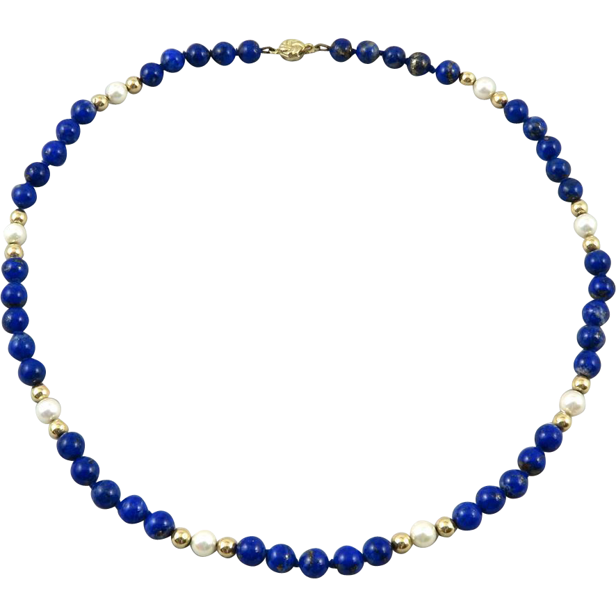14K Lapis and Cultured Pearl Necklace 20""