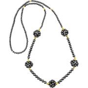 Hematite Cluster Bead Necklace 32""