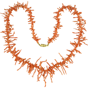 Natural Salmon Gorgeous Lacy Branch Coral Necklace 24""