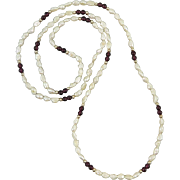 Garnet and Freshwater Cultured Pearl Necklace 33""