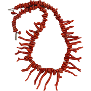 Art Deco Natural Ox Blood Red Large Branch Coral Necklace 20""