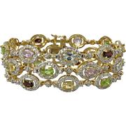 14ctw Multi Gemstone 3 Row Gold Vermeil Bracelet