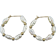 14K Freshwater Cultured Pearl Hoop Earrings