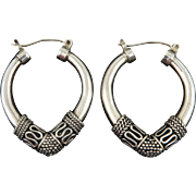 Big Etruscan Style Sterling Silver Hoop Earrings