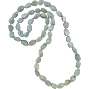 500ctw Aquamarine Freeform Faceted Nugget Necklace 32""
