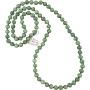Vintage Green Jadeite Jade Beads c1960 New Old Stock with Original Tag 33""