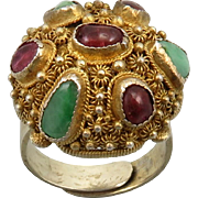 Chinese Rubelite Tourmaline and Jade Gilded Silver Ring