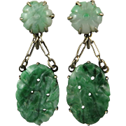 Antique Chinese Carved and Pierced Jade Earrings in Gold Wash Silver