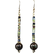 Boulder Opal and Sapphire Sterling Earrings