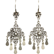Filigree Chandelier Dangle Sterling Silver Earrings