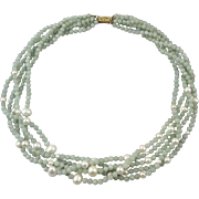 14K 5 Strand Jadeite Jade and Cultured Pearl Necklace 19""