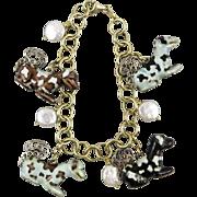 Chinese Enameled Asian Tibetan Spaniel Charm 14K Vermeil Bracelet