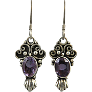 Amethyst and Sterling Dangle Style Earrings