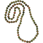 Unikite Bead Hand Knotted Necklace 33""