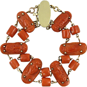 15K Georgian Carved Red Coral Chain Link Bracelet