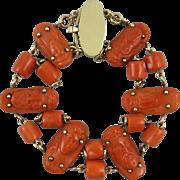15K Georgian Carved Red Coral Chain Link Bracelet