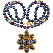 Chinese Sapphire | Ruby | Rubelite Tourmaline and Amethyst 18K Vermeil Pendant Necklace