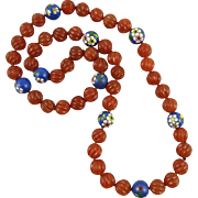 Chinese Carved Carnelian and Cloisonne Enamel Necklace 31""
