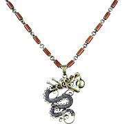 """Chinese Enameled Gilded Silver Dragon Necklace 22"""""""