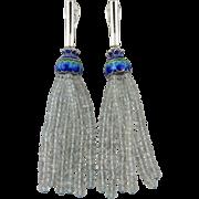 60ctw Sparkling Aquamarine Tassel | Enamel on Sterling Silver Earrings