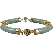 14K Green Jade Curved Link and Gold Charm Chinese Asian Panel Bracelet