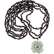 3 Strand Garnet and Carved Jade Flower Pendant Necklace 36""