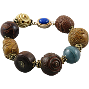 Japanese Meiji and Edo Period Ojime Bead Bracelet