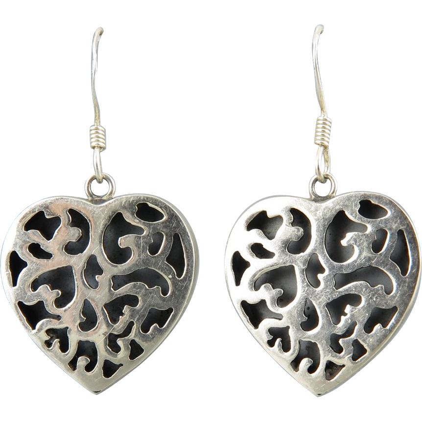 Shadowbox Openwork Sterling Silver Heart Earrings