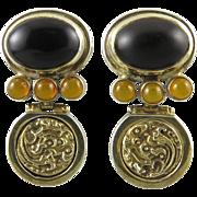 Amber and Black Onyx Sterling Vermeil Door Knocker Earrings
