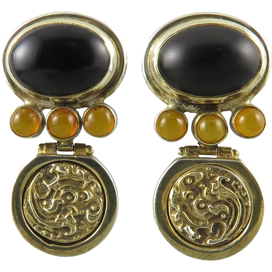 Amber and Black Onyx Sterling Vermeil Door Knocker Earrings