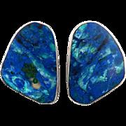 Navajo Azurite Slice Sterling Silver Earrings Signed