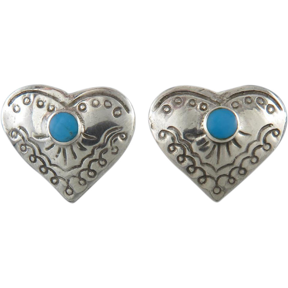 Turquoise and Sterling Domed Heart Earrings