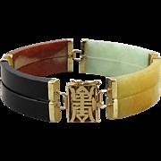 14K Carved Jade Wide Panel Link Bracelet