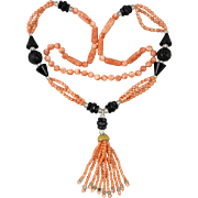 Spectacular Natural Salmon Coral and Black Onyx Tassel Necklace 32""