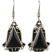 Vintage Taxco Black Onyx and Sterling Dangle Earrings