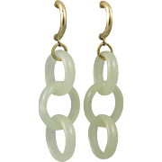 14K Qing Dynasty Carved Hetian Jade Ring Earrings