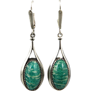 Rare Russian Amazonite Teardrop Sterling Dangle Earrings