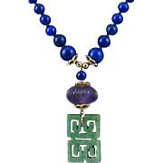 14K Jade Lapis and Amethyst Lantern Necklace 25""