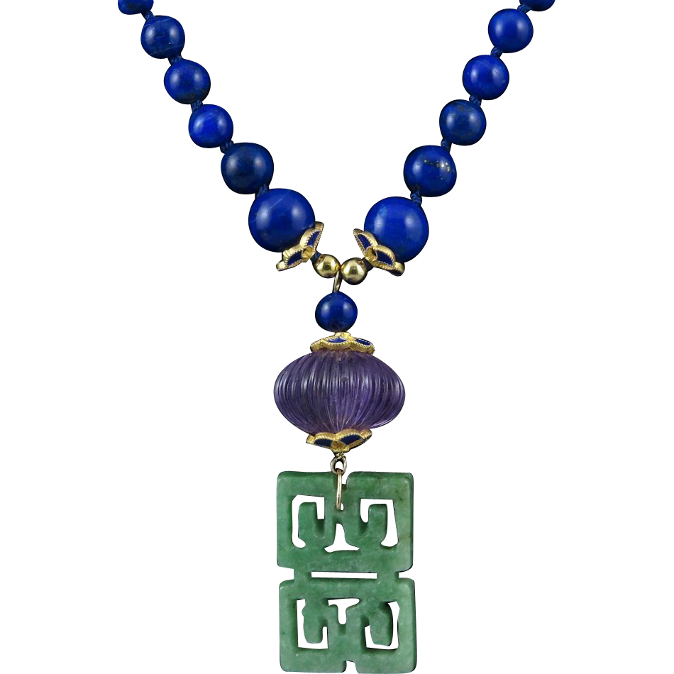 14K Jade Lapis and Amethyst Asian Lantern Necklace 25""